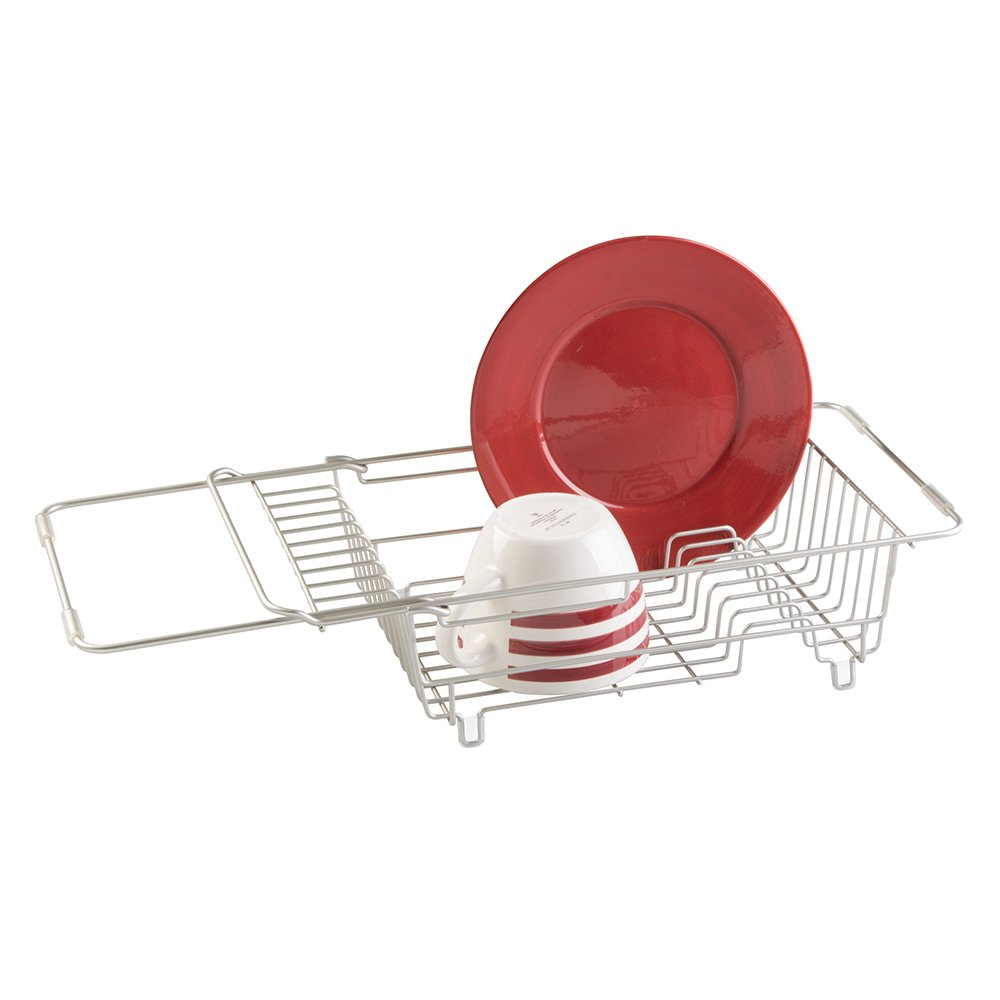 Dish drying rack over sink drainer holder expandable kitchen organizer satin - Kitchen sink drying rack ...