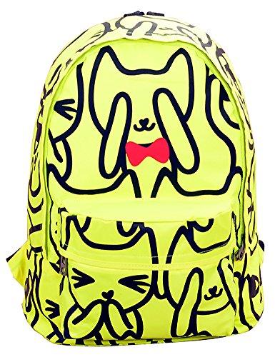 Shot-In New Women'S Backpack Cartoon School Bags Travel Bag Rucksack (Fluorescent Green)