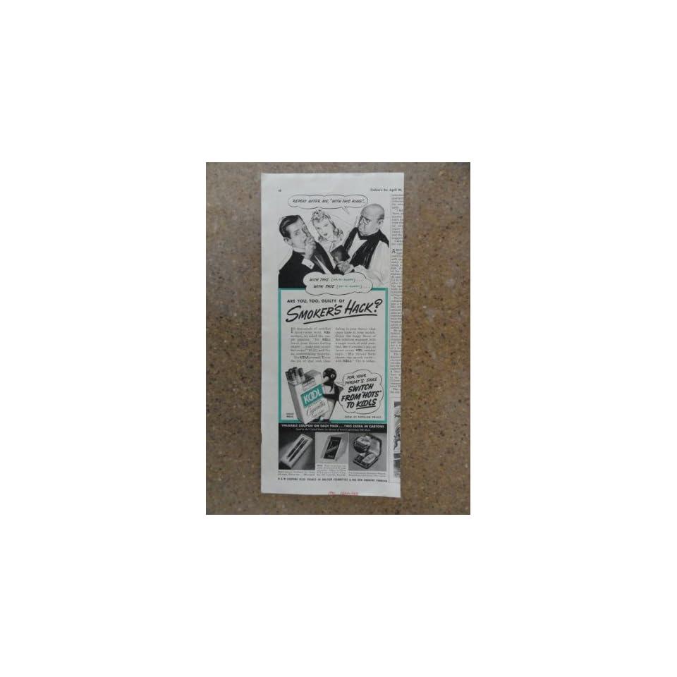 Kool Cigarettes ,Vintage 40s print ad (Smokers Hack? man,woman