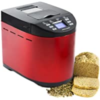 Andrew James Red Premium Bread Maker With Automatic Ingredients / Nut And Raisin Dispenser - Includes 2 Year Warranty