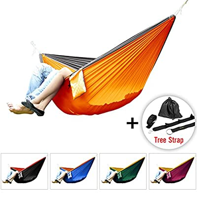 Yes4All Double Hammock- Ultralight Portable Nylon Parachute Hammock for Light Travel, Camping, Hiking, Backpacking. Hammock Stuff Bag Included