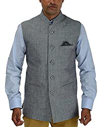Panache Linen Men's Nehru Jacket (Blueish Grey,36)