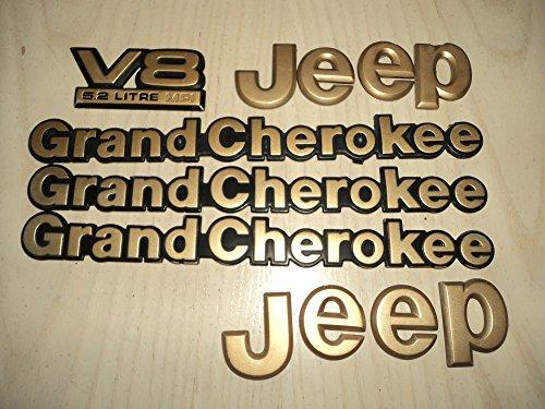93-95 Jeep Grand Cherokee V8 5.2 Litre MPI Gold & Black Emblem Logo Decal Sticker Set of 6 (Cherokee Emblem compare prices)