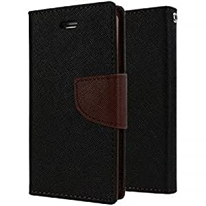 Online Street Wallet Style Flip Cover For Motorola Moto E - (Black With Brown)