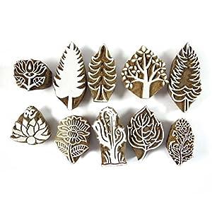 Indien Timbres de bois Lot de 10 pièces Timbre main Craved Impression Textile Bloquer