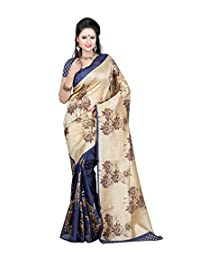Sky Global Women's Blue-Cream Bhagalpuri Silk Saree With Unstitched Blouse (Blue-Cream_Silk_Saree_1163)