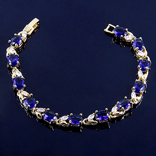 ChokuShop BB2102 BRACELET PLEASANT 19cm blue sapphire 18k gold plated fashion jewelry