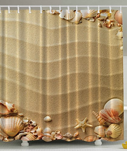 Beach Seashells Extra Long 84 Inch Shower Curtain Polyester Fabric Shower Curtain Beige Tan Sand