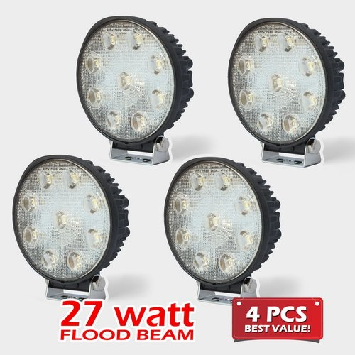 4Pc Flood Wide Angle Beam Round 27W 2000Lm High Power Work Light For Tractor Truck Atv 4Wd Off Road Vehicle Driving Fog Lamp- 12V & 24V Universal