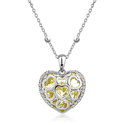 Czech Yellow Crystal Heart Filled Pendant Necklace 29