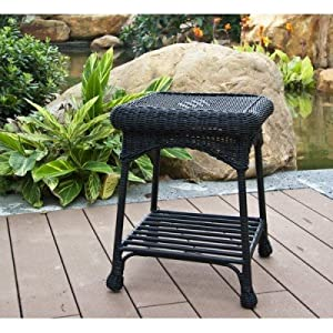 Wicker Lane OTI001-D Outdoor Black Wicker Patio Furniture End Table by Wicker Lane
