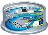 TDK 録画用ブルーレイディスク BD-R 25GB 1-4倍速 ホワイトワイドプリンタブル 20枚スピンドル BRV25PWB20PK
