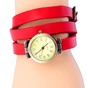 8Years(R) New Vintage Style Bronze Quartz Cool Leather Bracelet Lady Woman Wrist Watch (Red)