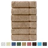 "Turkish Luxury Hotel & Spa 16""x30"" Hand Towel Set of 6 - 100% Genuine Cotton from Turkey - 700gsm Organic Eco-Friendly (Hand Towels, Taupe)"