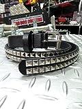 パンク・ロック系ファッションベルト:2連スタッズ ベルトスリムタイプ 黒(ブラック)