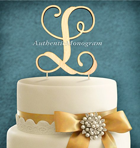 "5""Inch Cake Topper - ""L"" Wooden Painted Monogram, Vine Scrip, Wedding Decor, Anniversary, Engagement, Proposal, Rehearsal Dinner, Special Occasion"