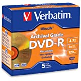 Verbatim UltraLife 4.7 GB 8x Gold Archival Grade DVD-R, 5-Disc Jewel Case 96320