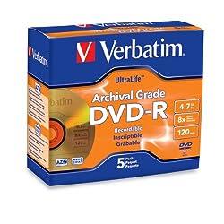 Verbatim 96320 UltraLife 4.7 GB 8x Gold Archival Grade DVD-R, 5-Disc Jewel Case