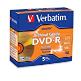 Verbatim 96320 UltraLife 4.7 GB 8x Gold Archival Grade DVD-R, 5-Disc Jewel Case ~ Verbatim