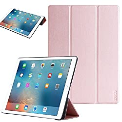 For iPad Pro [Premium Smart Slim Cover] For Apple [Stand Function] Full-body Protective Leather Case Zarus [Auto Wake / Sleep] Smart (Rose Gold)
