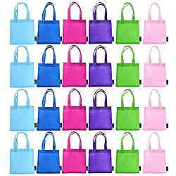 BCP 9' Assorted Colors 24pcs Small Non-woven Reusable Kids Carrying/ Shopping/grocery Tote Bag for Wedding Favor/gift /Party