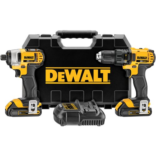 Factory-Reconditioned DEWALT DCK280C2R 20V MAX Cordless Lithium-Ion Compact Drill and Impact Driver Combo Kit