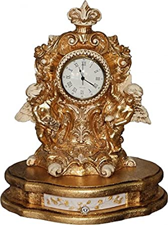 Casa Padrino Baroque table clock in Gold / Cream H 41 cm, W 34 cm, D 24 cm - antique look