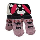 【全4サイズ】犬・猫・小動物用の靴下 ペットソックス  滑り止め靴下 2足組み  Pet Socks パープル (Lサイズ: 35*90mm(W*H) / 8225-63)