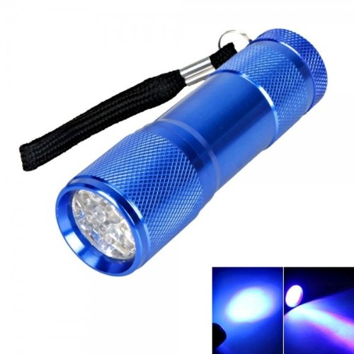 New 9 Led 385 ~ 400Nm Purple Light Mini Flashlight Torch Blue