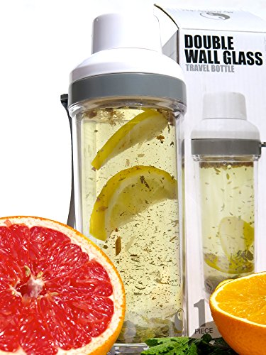 Tea Infuser-16oz-Double Wall -Tea Tumbler-For Loose Leaf Tea & Fruit infusion- by My Healthy Way-Glass Bottle w/ Strainer Lid-Travel Mug For Hot & Cold Beverages -Lose Weight (Insulated Tea Tumbler compare prices)