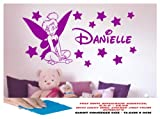 TINKERBELL FAIRY WALL STICKER, GIRLS BEDROOM, GIRLS ROOM, DISNEY PRINCESS ANY CHILD'S NAME, LARGE BEDROOM, GIRLS PLAYROOM, NURSERY LOUNGE, HALL, KITCHEN,