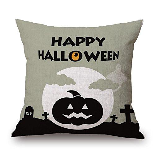 GAXmi Happy Halloween Throw Pillow Ghosts Print Home Decor Living Room Sofa Cushion 45cm x 45cm (17.7