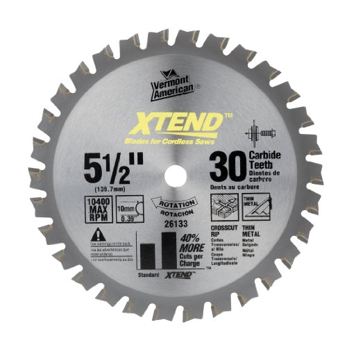 Vermont American 26133 10Mm Arbor 5-1/2-Inch 30 Tooth Xtend Fine Finish Cordless Circular Saw Blade front-606377