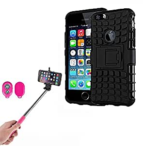 Hard Dual Tough Military Grade Defender Series Bumper back case with Flip Kick Stand for Iphone 6Gplus + Wireless Bluetooth Remote Selfie Stick for all Smart phones by carla store.