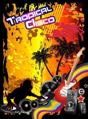 Wallmonkeys Peel and Stick Wall Graphic - Tropical Music Event Disco Flyer - 24