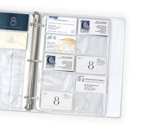 C-Line Business Card Holders, 20 Cards/Page, Clear, 8.125 x 11.25 Inches, 10 per Pack (61217)