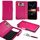 Huawei Ascend P1 LTE Pink PU LEATHER SUCTION WALLET CASE AND RETRACTABLE STYLUS PEN Case In Your Face®