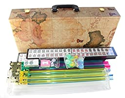 American Mahjong Set in World Map Case with 18\