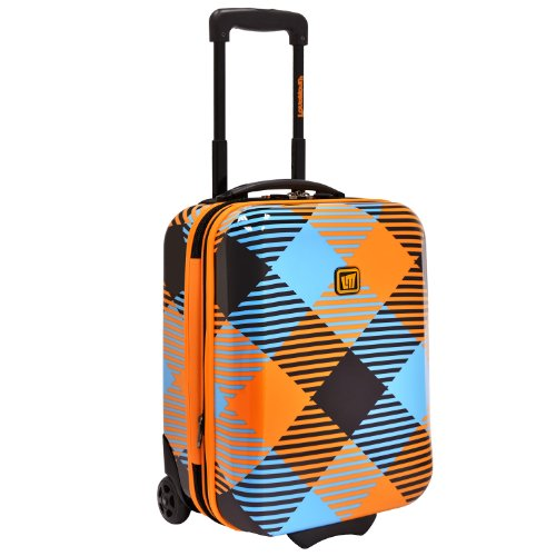 Travelers Choice Loudmouth Microwave 18 Inch Under-The-Seat Expandable Rolling Luggage, Orange/Blue, One Size front-90801
