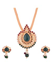 Ganapathy Gems Gold Plated Pandent Set With Red And Green Stones With Chain
