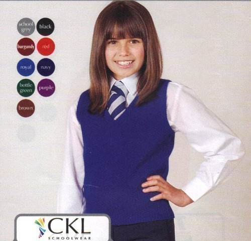 CKL SCHOOL WEAR - V Ausschnitt Pullunder Mädchen Uniform ärmellos drüberziehen Tanktop Schulkleidung - 152-164, Rot