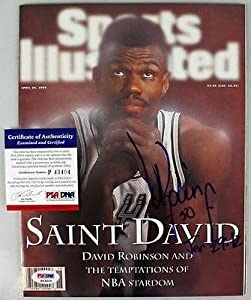Buy Spurs David Robinson Signed Sports Illustrated 1996 #p43404 - PSA DNA Certified - Autographed NBA... by Sports Memorabilia