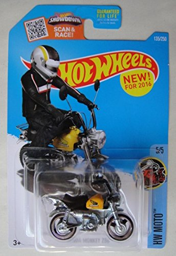 Hot Wheels, 2016 HW Moto, Honda Monkey Z50 Mini Bike [Black and Yellow] 135/250