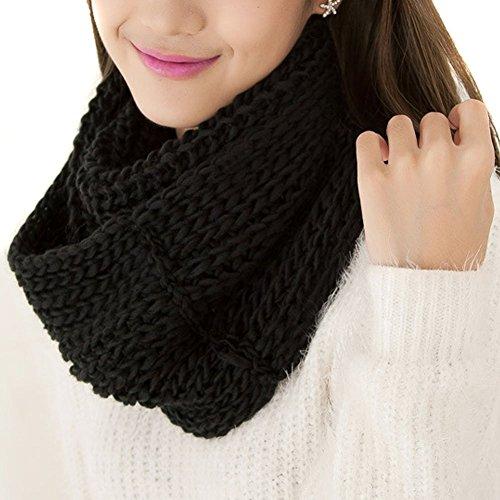 Donna infinity Circle Warmer Inverno a maglia spessa lana morbida sciarpa collo lungo anello cerchio sciarpa scaldacollo cappuccio Shaw migliore regalo Natale, Black