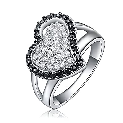RubinEmpire® by O.R.® (Old Rubin) Genuine 925 Sterling Silver Heart Shaped Ring with Diamonds Inside Show Eternal Love for Girls/Ladies in a Gift Box.