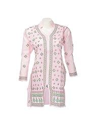 Lucknow Chikan Industry Women Cotton Chikankari Pink Banded Collar Kurti