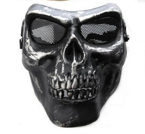 Gaga Face Protect Army M02 Ii Tactical Military Airsoft Skull Full Face Protect Safe Warrior Armor Mask Silver Black