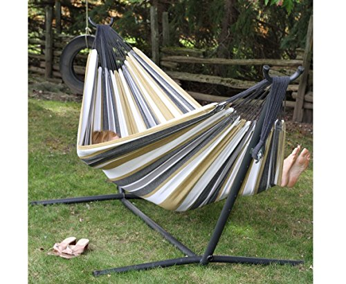2 People Free Standing Hammock Set, Double Fabric Cotton Hammock with Powder-coated Steel Stand and Hammock Bag