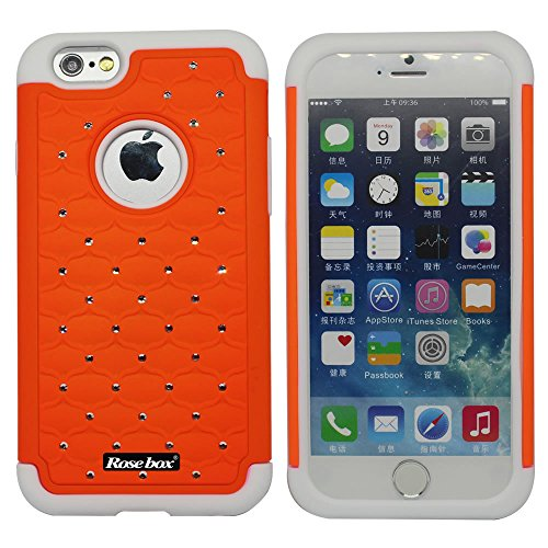 RoseBox® IPhone 6 Plus Case Apple iPhone 6 Plus Case 5.5 Inch Leather Case Elegant Design Bling Starry Sky Crystal Diamond Case High quality PC + Silicone Hybrid Bumper Case Cover for Apple iPhone 6 Plus Case 5.5 and Stylus (Orange &White)