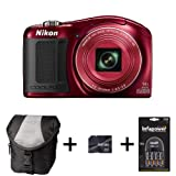 Nikon Coolpix L620 - Red + Case + 16GB Memory Card + AA Battery and Charger (18MP, 14x Optical Zoom) 3 inch LCD